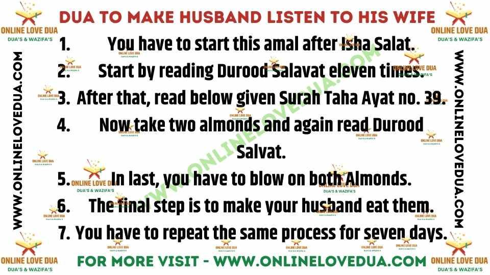 Dua To Make Husband Listen To His Wife