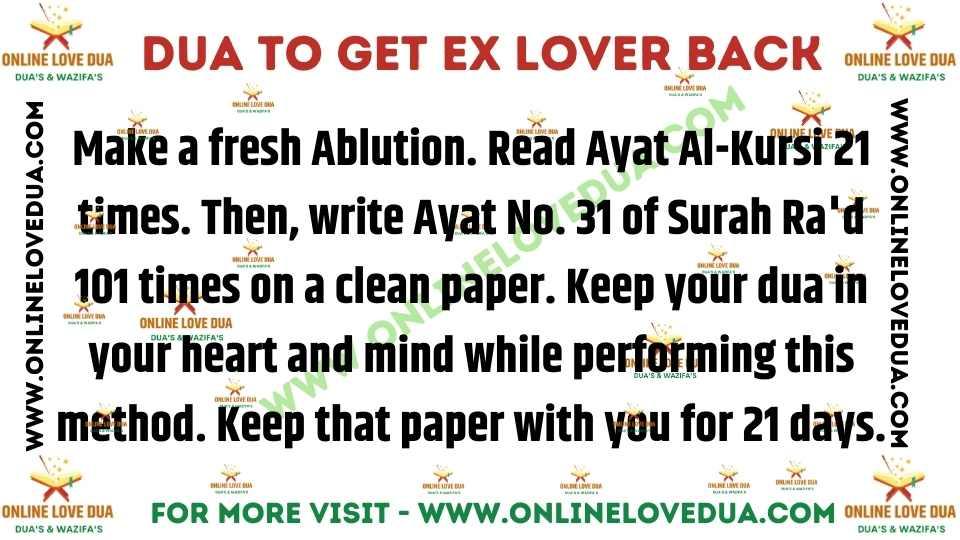 Dua To Get Ex Lover Back